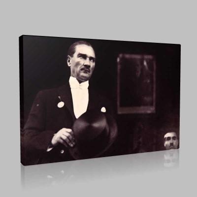 Siyah Beyaz Atatürk Resimleri  371 Kanvas Tablo