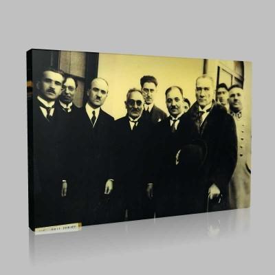 Siyah Beyaz Atatürk Resimleri  375 Kanvas Tablo