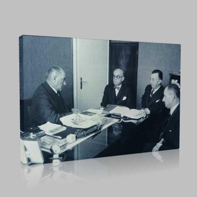 Siyah Beyaz Atatürk Resimleri  376 Kanvas Tablo