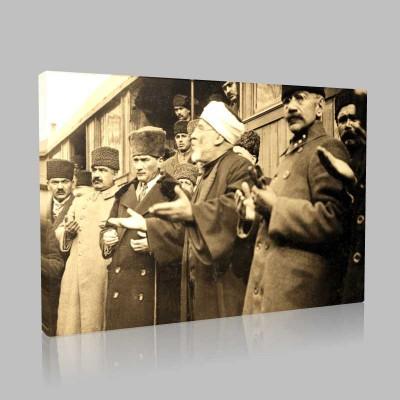 Siyah Beyaz Atatürk Resimleri  380 Kanvas Tablo