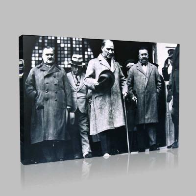 Siyah Beyaz Atatürk Resimleri  383 Kanvas Tablo