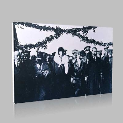 Siyah Beyaz Atatürk Resimleri  392 Kanvas Tablo