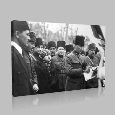 Siyah Beyaz Atatürk Resimleri  394 Kanvas Tablo