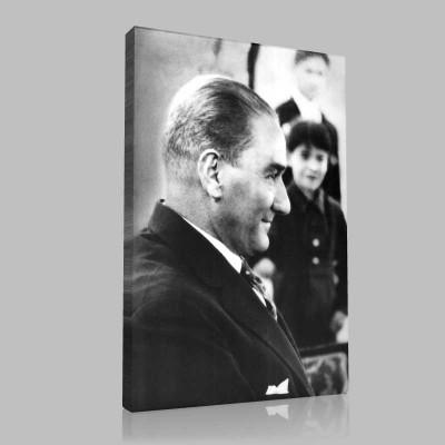 Siyah Beyaz Atatürk Resimleri  395 Kanvas Tablo