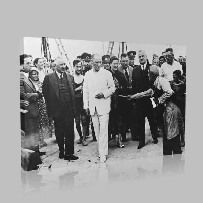Siyah Beyaz Atatürk Resimleri  399 Kanvas Tablo