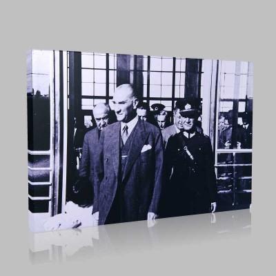 Siyah Beyaz Atatürk Resimleri  401 Kanvas Tablo