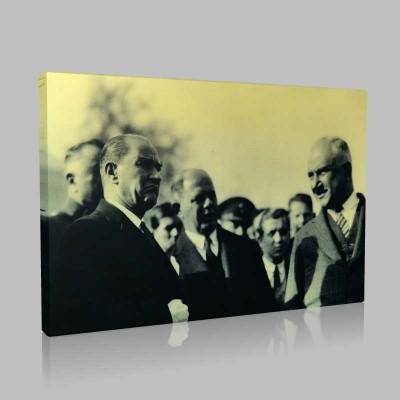 Siyah Beyaz Atatürk Resimleri  402 Kanvas Tablo