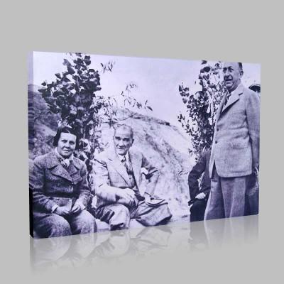 Siyah Beyaz Atatürk Resimleri  407 Kanvas Tablo