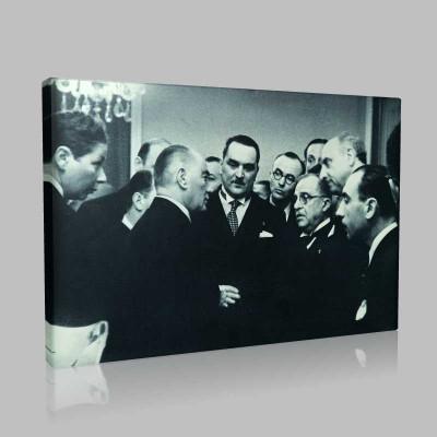 Siyah Beyaz Atatürk Resimleri  408 Kanvas Tablo