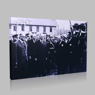 Siyah Beyaz Atatürk Resimleri  409 Kanvas Tablo