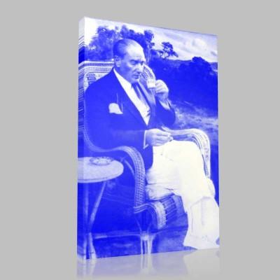 Siyah Beyaz Atatürk Resimleri  410 Kanvas Tablo
