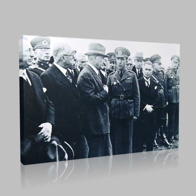 Siyah Beyaz Atatürk Resimleri  414 Kanvas Tablo
