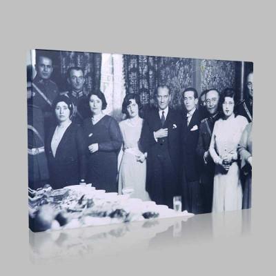 Siyah Beyaz Atatürk Resimleri  418 Kanvas Tablo