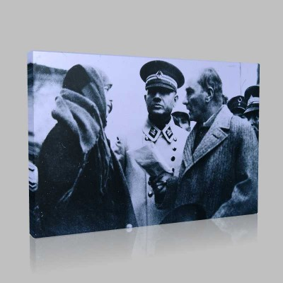 Siyah Beyaz Atatürk Resimleri  423 Kanvas Tablo