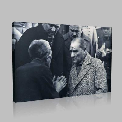 Siyah Beyaz Atatürk Resimleri  428 Kanvas Tablo