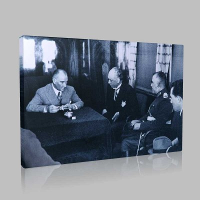 Siyah Beyaz Atatürk Resimleri  429 Kanvas Tablo