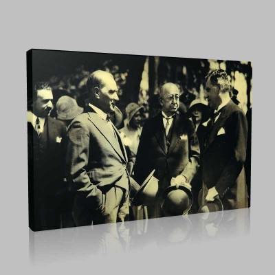Siyah Beyaz Atatürk Resimleri  432 Kanvas Tablo