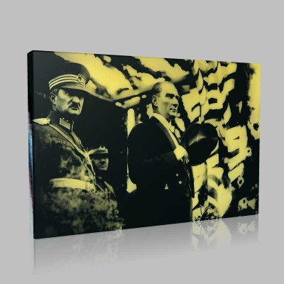 Siyah Beyaz Atatürk Resimleri  434 Kanvas Tablo
