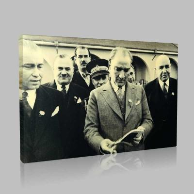 Siyah Beyaz Atatürk Resimleri  435 Kanvas Tablo