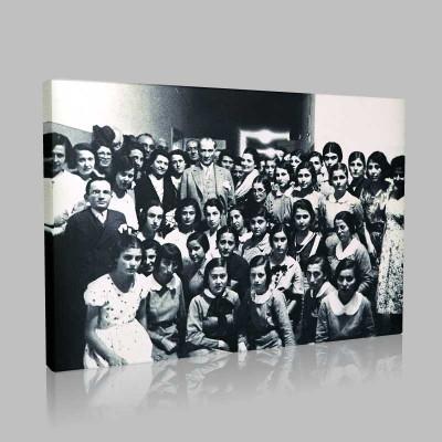 Siyah Beyaz Atatürk Resimleri  438 Kanvas Tablo