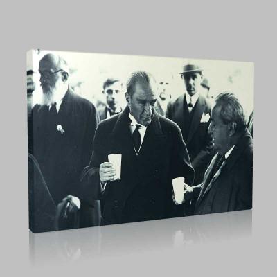 Siyah Beyaz Atatürk Resimleri  439 Kanvas Tablo