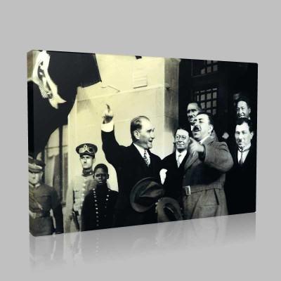 Siyah Beyaz Atatürk Resimleri  445 Kanvas Tablo