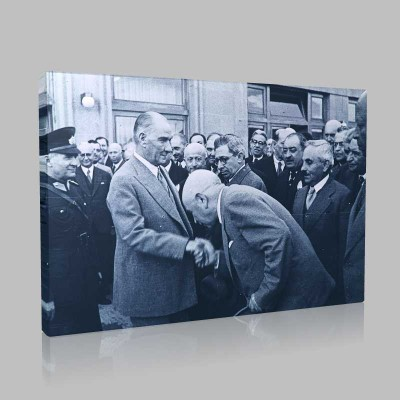 Siyah Beyaz Atatürk Resimleri  448 Kanvas Tablo