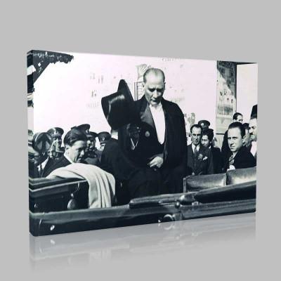 Siyah Beyaz Atatürk Resimleri  449 Kanvas Tablo