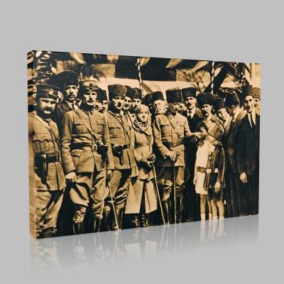 Siyah Beyaz Atatürk Resimleri  455 Kanvas Tablo