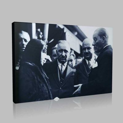 Siyah Beyaz Atatürk Resimleri  458 Kanvas Tablo
