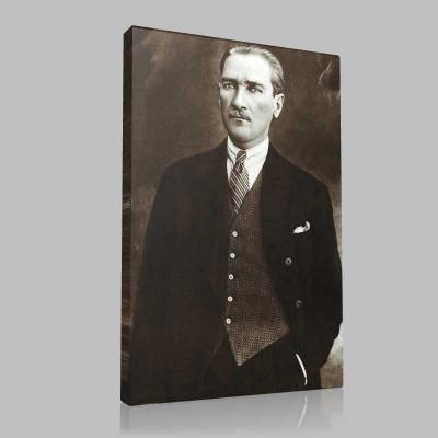 Siyah Beyaz Atatürk Resimleri  466 Kanvas Tablo