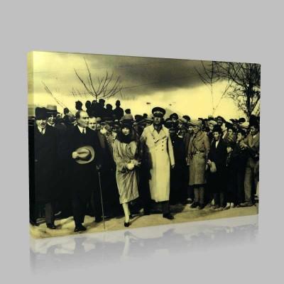 Siyah Beyaz Atatürk Resimleri  468 Kanvas Tablo