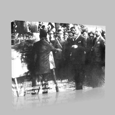 Siyah Beyaz Atatürk Resimleri  473 Kanvas Tablo