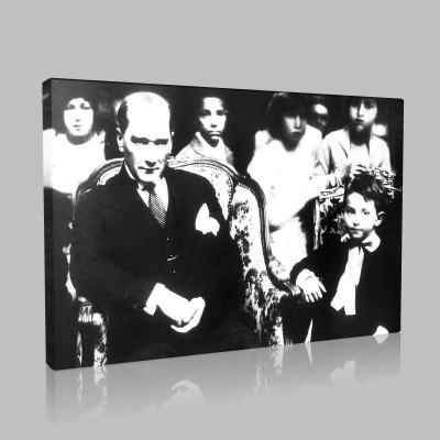 Siyah Beyaz Atatürk Resimleri  478 Kanvas Tablo