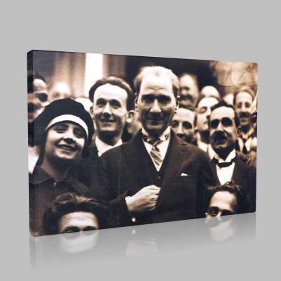 Siyah Beyaz Atatürk Resimleri  48 Kanvas Tablo