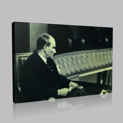 Siyah Beyaz Atatürk Resimleri  487 Kanvas Tablo