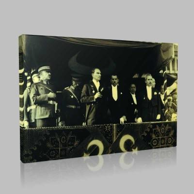 Siyah Beyaz Atatürk Resimleri  488 Kanvas Tablo