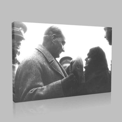 Siyah Beyaz Atatürk Resimleri  490 Kanvas Tablo