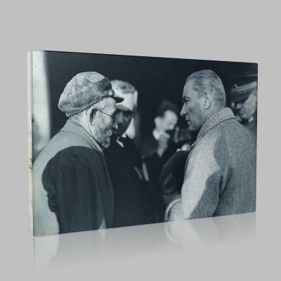 Siyah Beyaz Atatürk Resimleri  504 Kanvas Tablo