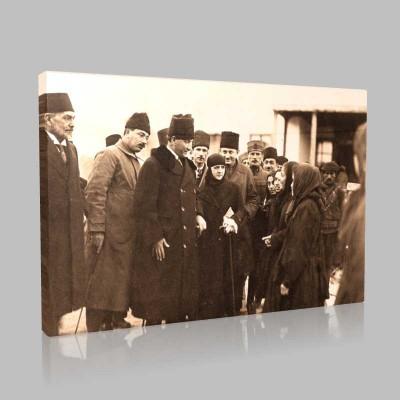 Siyah Beyaz Atatürk Resimleri  507 Kanvas Tablo