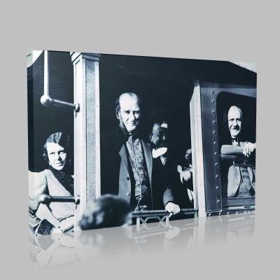 Siyah Beyaz Atatürk Resimleri  530 Kanvas Tablo