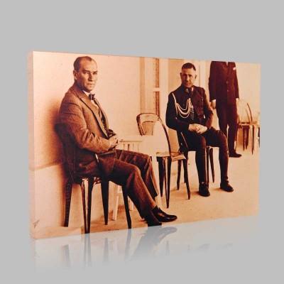 Siyah Beyaz Atatürk Resimleri  54 Kanvas Tablo