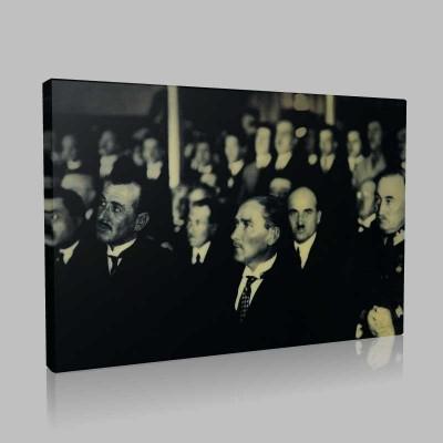 Siyah Beyaz Atatürk Resimleri  542 Kanvas Tablo