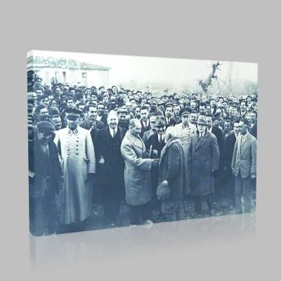 Siyah Beyaz Atatürk Resimleri  543 Kanvas Tablo