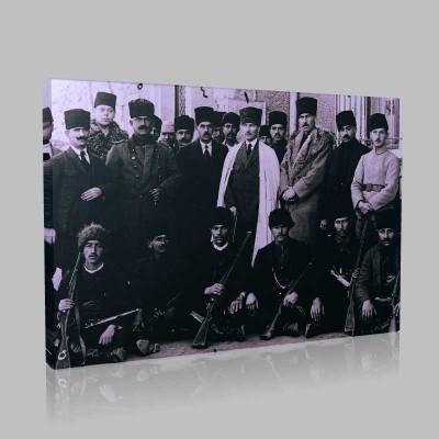 Siyah Beyaz Atatürk Resimleri  642 Kanvas Tablo
