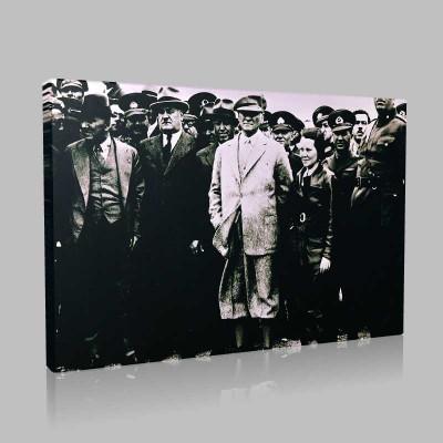 Siyah Beyaz Atatürk Resimleri  72 Kanvas Tablo