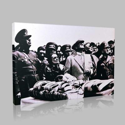 Siyah Beyaz Atatürk Resimleri  74 Kanvas Tablo