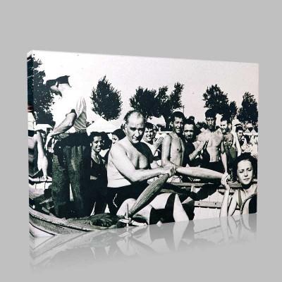 Siyah Beyaz Atatürk Resimleri  88 Kanvas Tablo