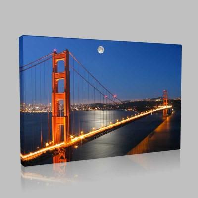 Ayışığında Golden Gate Amerika Kanvas Tablo