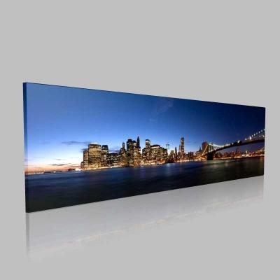 New York Köprü Ve Şehir Manzarası Kanvas Tablo